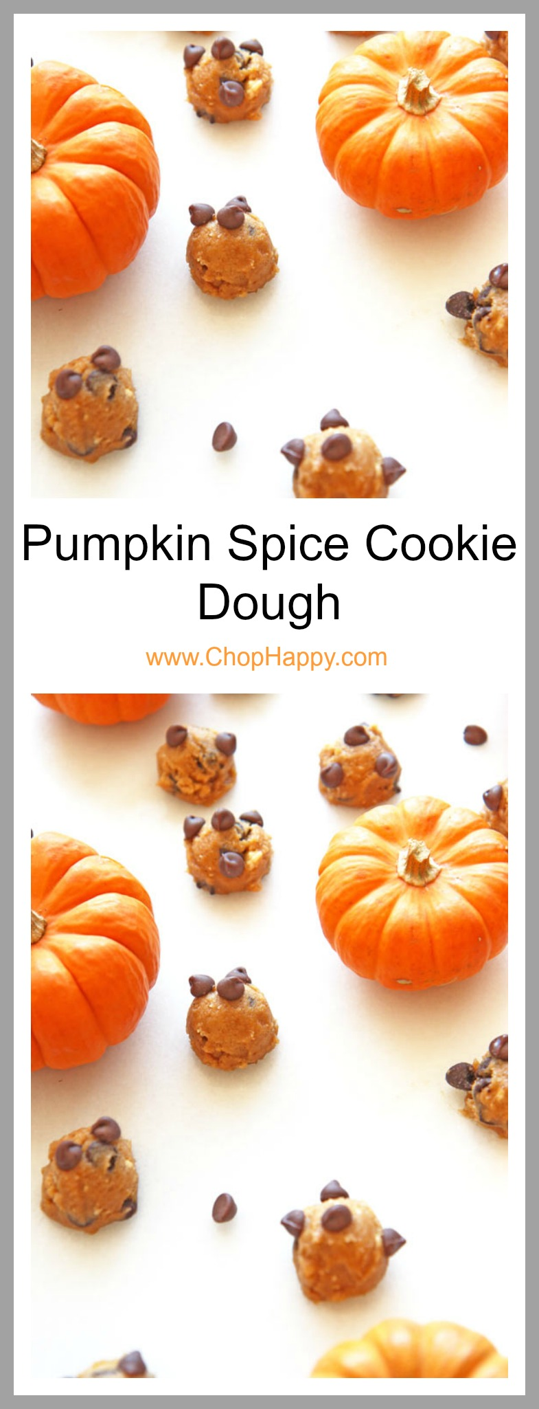 Pumpkin Spice Cookie Dough Recipe - is as easy as drop all the ingredients in the bowl, stir, and eat. Its decadent comfort food dessert. The best part is its a sweet No-Bake dessert. www.ChopHappy.com