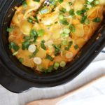 Slow Cooker Jalapeño Mac and Cheese Recipe - will make your whole day because it cooks while you are at work. This cheesy, creamy, dinner recipe is so fun to make. Just dump all the ingredients in the slow cooker (including dry pasta), and thats it! www.ChopHappy.com
