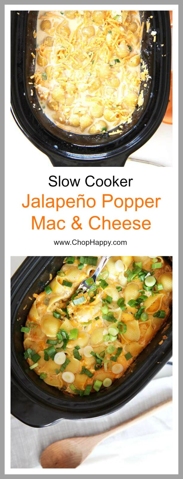 Slow Cooker Jalapeño Mac and Cheese Recipe - will make your whole day because it cooks while you are at work. This cheesy, creamy, dinner recipe is so fun to make. Just dump all the ingredients in the slow cooker (including dry pasta), and that is it! www.ChopHappy.com