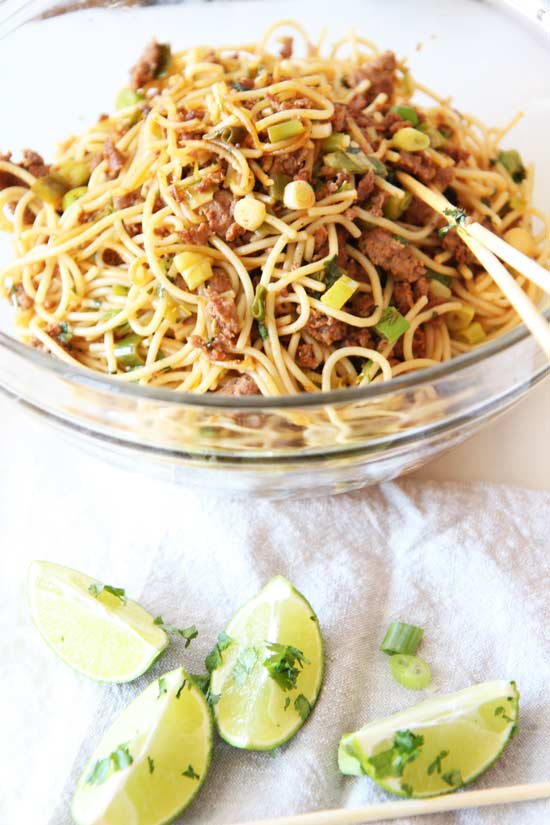 Mexican Noodle Bowl Recipe - less then 15 minutes, one pot pasta easy. This is a fun and perfect weeknight meal. www.ChopHappy.com