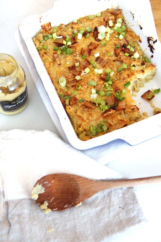 Bacon Gruyere Mashed Potato Casserole Recipe - is a super decadently easy make ahead comfort food recipe. Grab potatoes, butter, cheese, and bacon. www.ChopHappy.com
