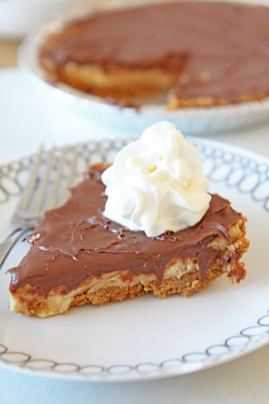 No-Bake Peanut Butter Chocolate Cheesecake Recipe - that is a perfect make ahead easy recipe. Homemade pie crust and rich cream filling without turning on the oven. Perfect for holidays, summer time, and a birthday surprise. Happy Cooking! www.ChopHappy.com