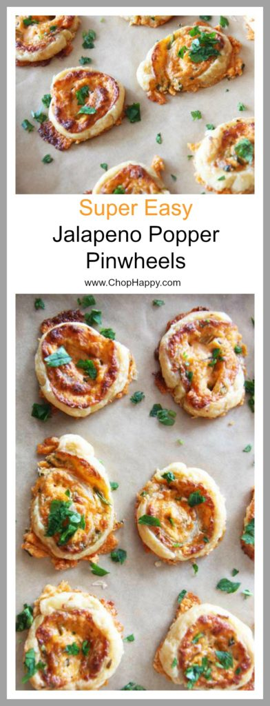 Jalapeno Popper Pinwheel (Happy Make Ahead Fun) Recipe - that is a perfect party appetizer. There is sharp cheese, spicy jalapeño, and creamy cream cheese to form a comfort food happy bite. Happy Cooking. www.ChopHappy.com