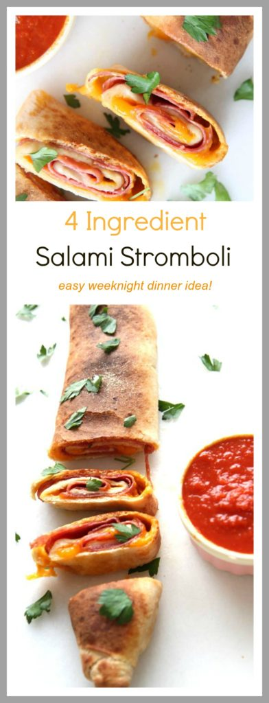 Salami Stromboli Recipe - that is whats for dinner on a busy weeknight. It takes 20 minutes from start to finish to have a hot bubbly cheesy filled dinner. www.ChopHappy.com
