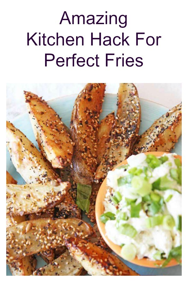 Kitchen Hack For Perfect Fries. This is a one chop perfect sheet pan of fries. You can fry them bake them. Perfect for potatoes, sweet potatoes, or yucca fries. Happy French Fries Making! #fries #kitchenhack