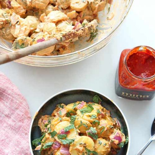Creamy Harissa Potato Salad Recipe. This spicy, sweet and tangy #potatosalad is super easy to make and is perfect make ahead recipe. Happy #comfortfood cooking! www.ChopHappy.com