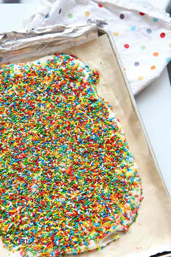 2 Ingredient Frozen Unicorn Bark - Recipe. This is so easy to make and is a refreshing #comfortfood dessert your whole family will love! Happy Cooking! www.ChopHappy.com