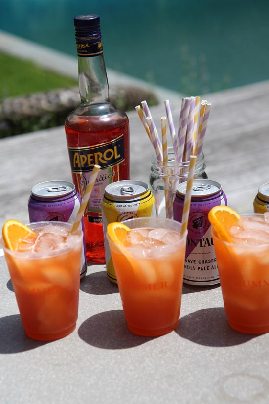 Beer Aperol Spritz Cocktail Recipe. When you sip close your eyes and you will be transported to Italy. This #SummerCocktail is the perfect easy recipe for any pool party, dinner party, or after work drink. Happy Cooking! www.ChopHappy.com