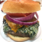 Spinach and Artichoke Dip Stuffed Burger Recipe that is amazingly easy and make ahead. This is fast #comfortfood love that you grill in 6 minutes. Happy Cooking! www.Chophappy.com