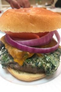 Spinach and Artichoke Dip Stuffed Burger Recipe