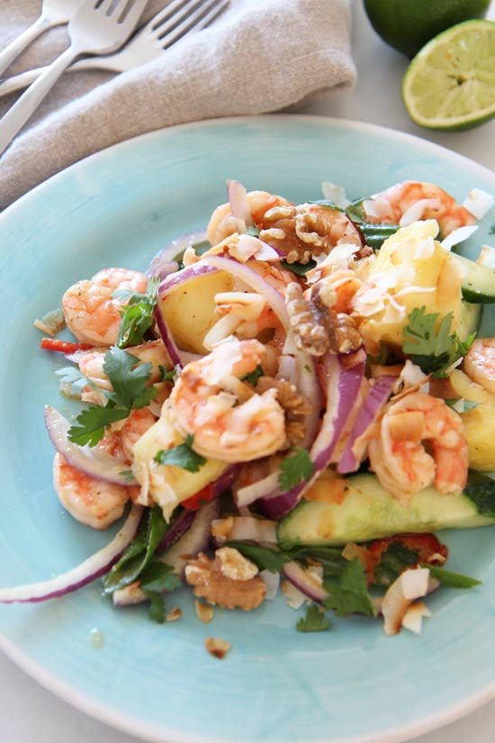 Asian Shrimp and Pineapple Salad Recipe. This is super easy #comfortfood that is the perfect juicy make ahead recipe. Happy Cooking!