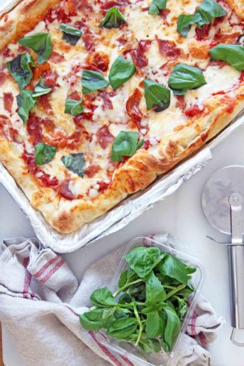 NYC Sheet Pan Stuffed Crust Pizza (cheesy happy dinner smiles)