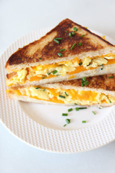 The Best Breakfast Grilled Cheese. Grab the bread, cheddar, and eggs to make this simple dinner recipe. i love #breakfastfordinner and #eggs. Happy Cooking! www.Chophappy.com #grilledcheese #easyrecipe