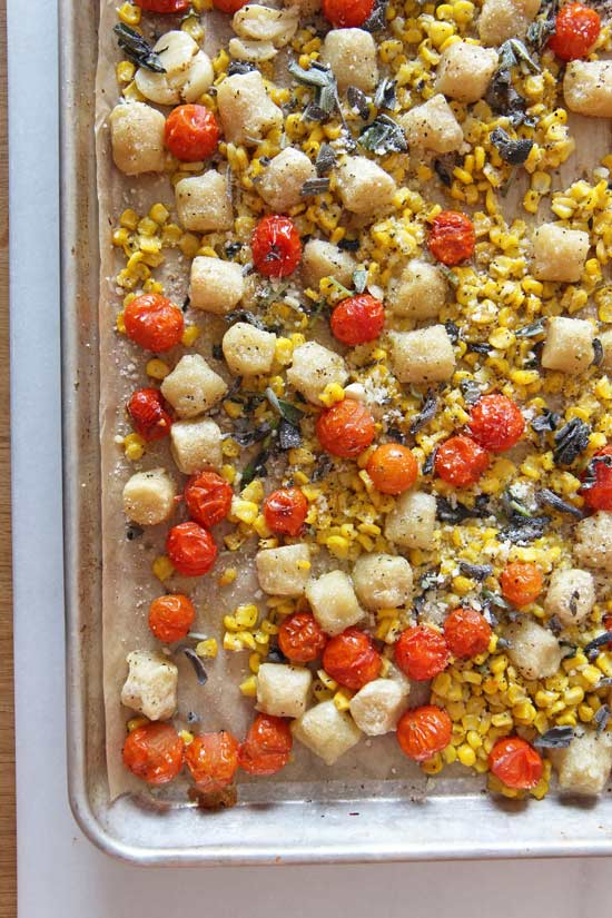 Sheet Tray Gnocchi Dinner Recipe. This is done in 20 minutes, easy weeknight recipe. Grab #gnocchi from the freezer, #veggies, #butter, and cheese. The sheet tray does all the work! Happy Cooking! #simplerecipes #dinner