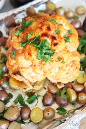 Sheet Pan Whole Roasted Cauliflower and Potatoes