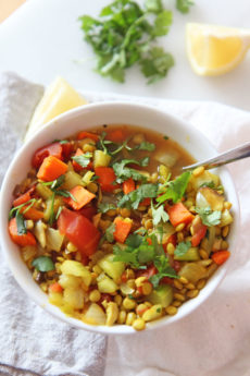 Slow Cooker Turmeric Lentil Soup Recipe. This is the prefect busy weeknight dinner. The lentils, ginger, turmeric, cumin, and veggies dance together to make lots of soup. #soup #slowcookerrecipe