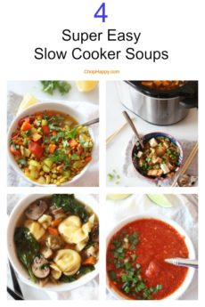 4 Easy Slow Cooker Soup Recipes. Thai tomato soup, turmeric lentil soup, kinchi soup, and pasta soup are the 4 easy recipes. Happy Cooking! #soup #slowcooker