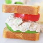The Best Buffalo Chicken Salad Recipe. Grab rotisserie chicken, greek yogurt, sour cream, hot sauce, mayo, mint, celery, and blue cheese. Happy Weeknight Cooking! www.ChopHappy.com #chickenrecipe #chickensalad #buffalochicken