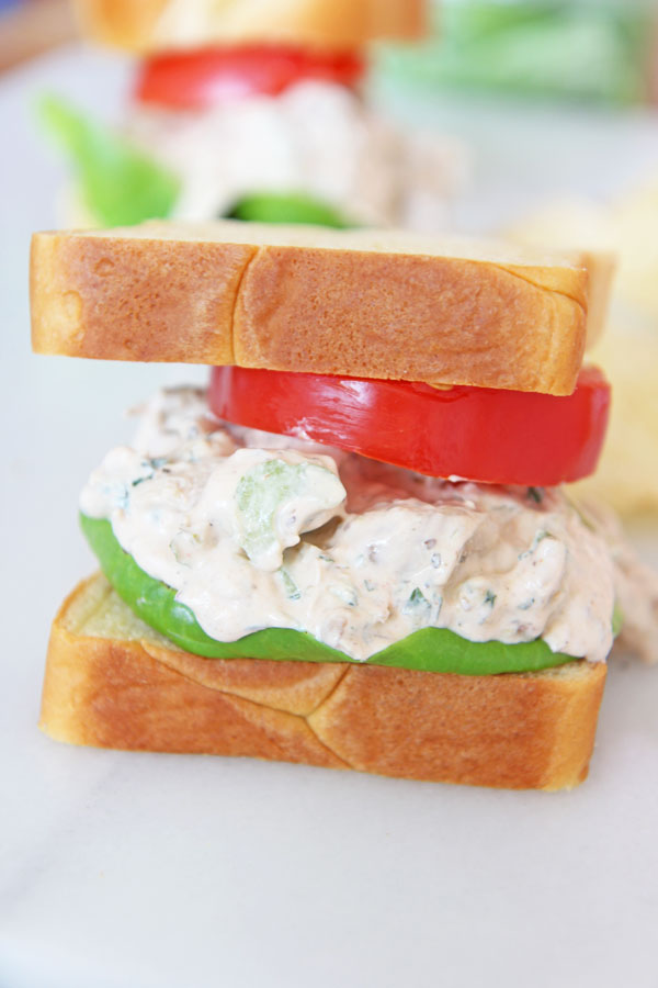 The Best Buffalo Chicken Salad Recipe. Grab rotisserie chicken, greek yogurt, sour cream, hot sauce, mayo, mint, celery, and blue cheese. Happy Weeknight Cooking! www.ChopHappy.com #chickenrecipe #chickensalad #buffalochicken