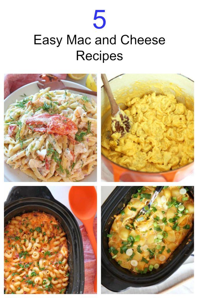 5 Easy Mac and Cheese Recipes. Easy no roux cheese sauses. The crock pot or one pot method makes this make ahead awesome! Happy Oasta party. www.ChopHappy.com #macandcheese #slowcookerrecipes