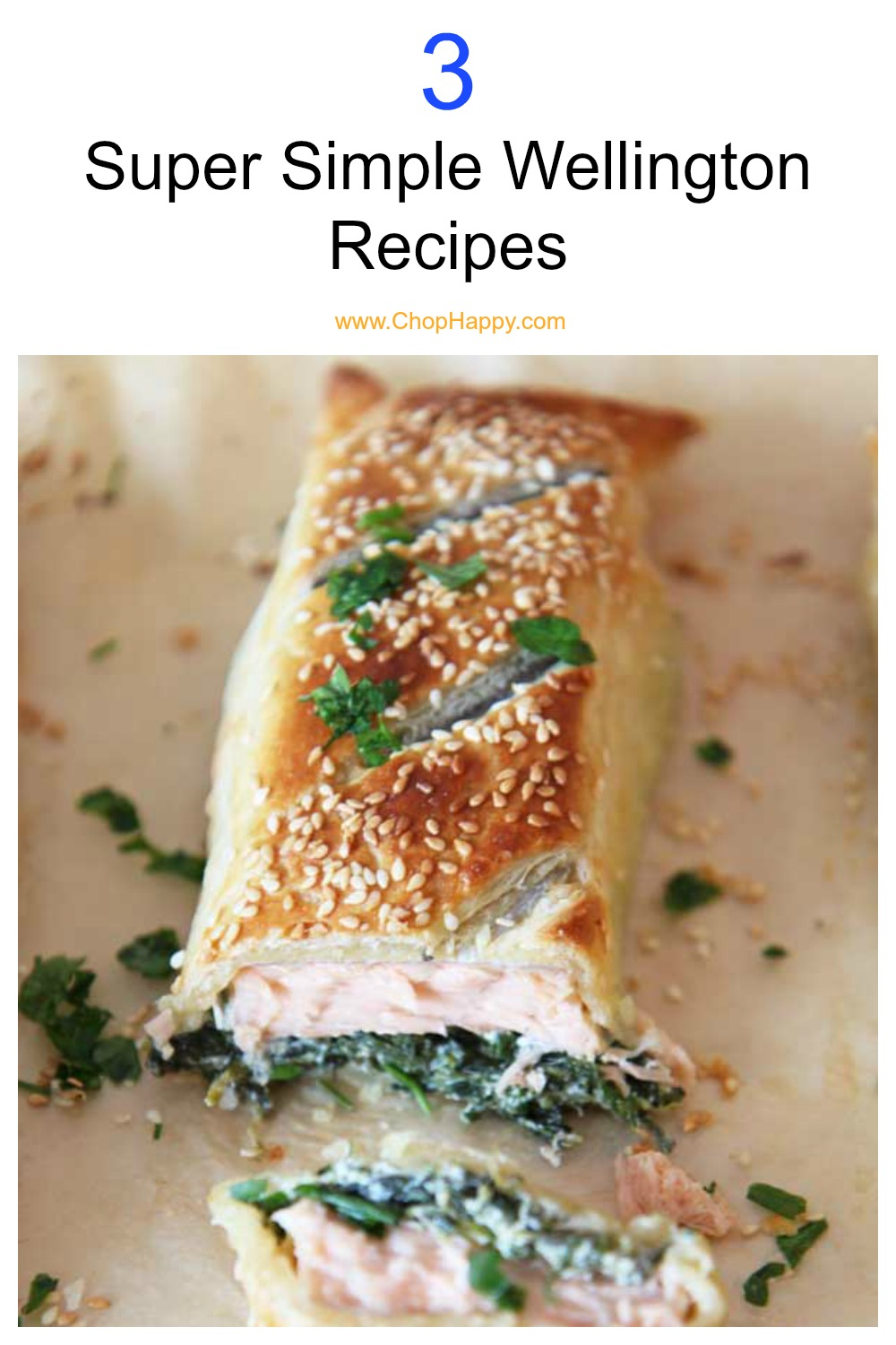 3 Simple Wellington Recipes all done on a sheet pan. All 3 dinner recipes are super easy and wrapped in buttery puff pastry. We have salmon, stuffed mushroom, and traditional beef Wellington. Perfect for holiday parties, dinner parties, or just family dinner time. Happy Cooking! www.ChopHappy.com #BeefWellington #sheetpandinner
