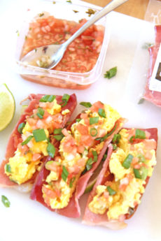 Breakfast Taco With Ham Shell Recipe. Easy gluten free and keto friendly brunch recipe. This recipe includes eggs, Greek yogurt, ham and other breakfast fun. Happy Cooking! www.ChopHappy.com #breakfasttacos #tacoTuesday