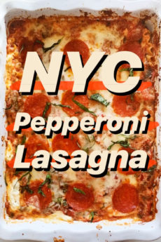 Pepperoni Pizza Lasagna Recipe. Easy fast and gluten free pasta! Like eating NYC pepperoni pizza. Happy Cooking! www.ChopHappy.com #lasagnarecipe #pizza