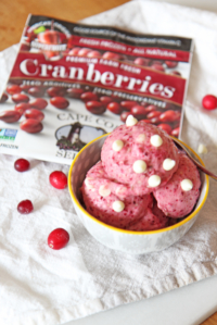 3 Ingredient Cranberry White Chocolate Ice Cream
