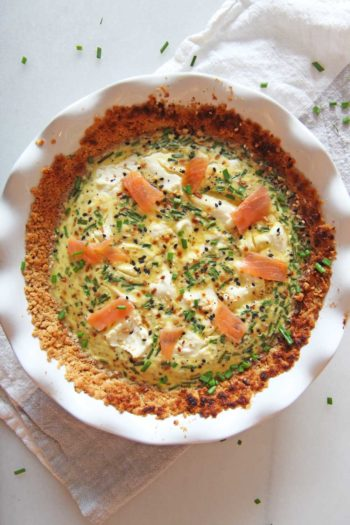 Bagel and Lox Quiche with Matzo Pie Crust