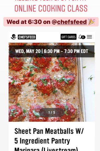 Online Cooking Class This Wednesday: Meatballs and Marinara