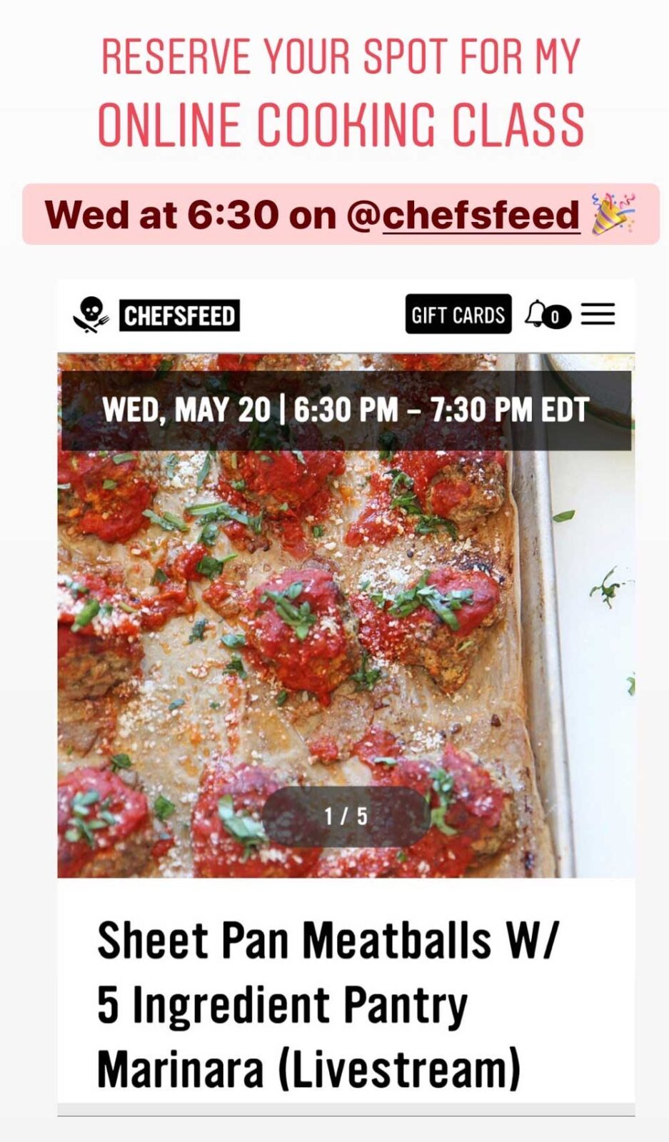 Meatballs and Marinara Cooking Class . This Wednesday May20th. Meatballs cooked on a sheet tray and 5 ingredient marinara! Happy Cooking! www.ChopsHapy.com #cookingclass #onlinecookingclass