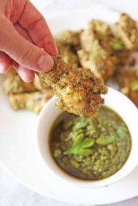 Oven Fried Pesto Chicken Wings