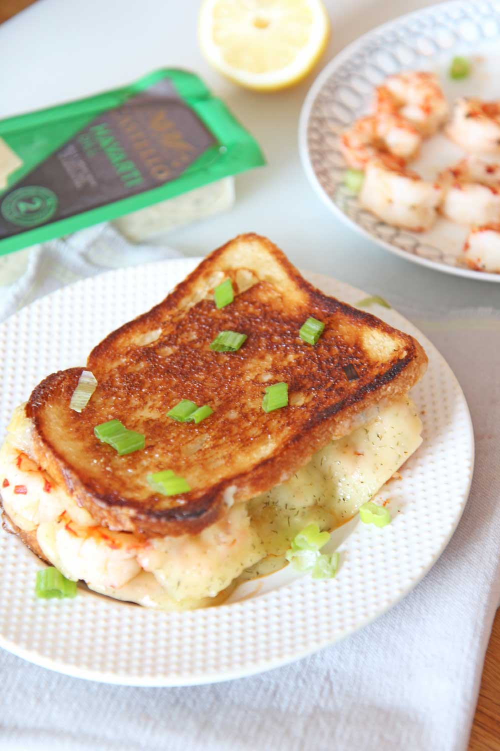Shrimp and Dill Havarti Grilled Cheese Recipe. Bread, Castello Dill Havarti, mayo, lemon and scallions are all you need. This is a fast crunchy cheesy comfort food delight for a happy dinner. Happy Grilled Cheese Eating! www.ChopHappy.com #Ad #CastelloCheese #GrilledCheese