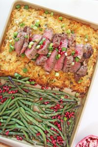 Full Holiday Dinner on a Sheet Pan. Steak and Potatoes for Christmas or Hanukkah. This is a full holiday dinner on a sheet pan. Happy Holidays! www.ChopHappy.com #Christmasdinner #sheetpandinner