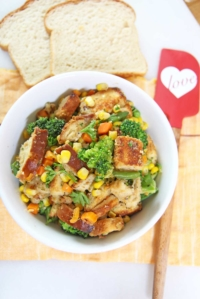 Stove Top Pantry Stuffing (frozen veggies and sliced bread)