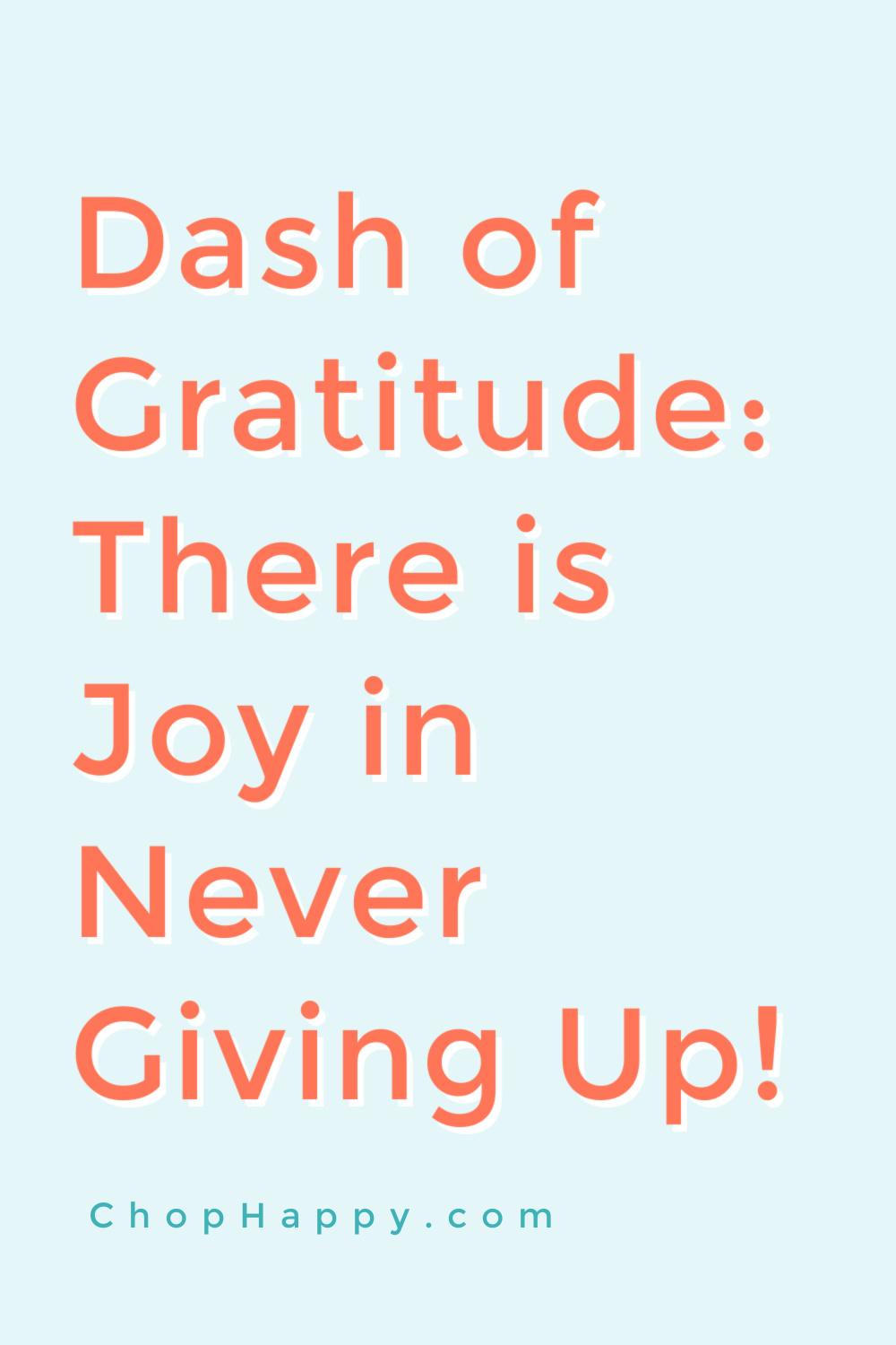 Dash of Gratitude: There is Joy in Never Giving Up! This is a self help video about finding joy, your dreams, love, and purpose with in. Happy Today! www.ChopHappy.com #joy #findingyourself