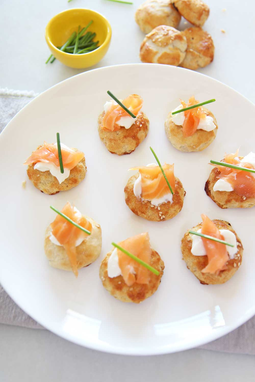 Potato Knish Lox Bites (easiest appetizer with Carnegie Deli Knishes)