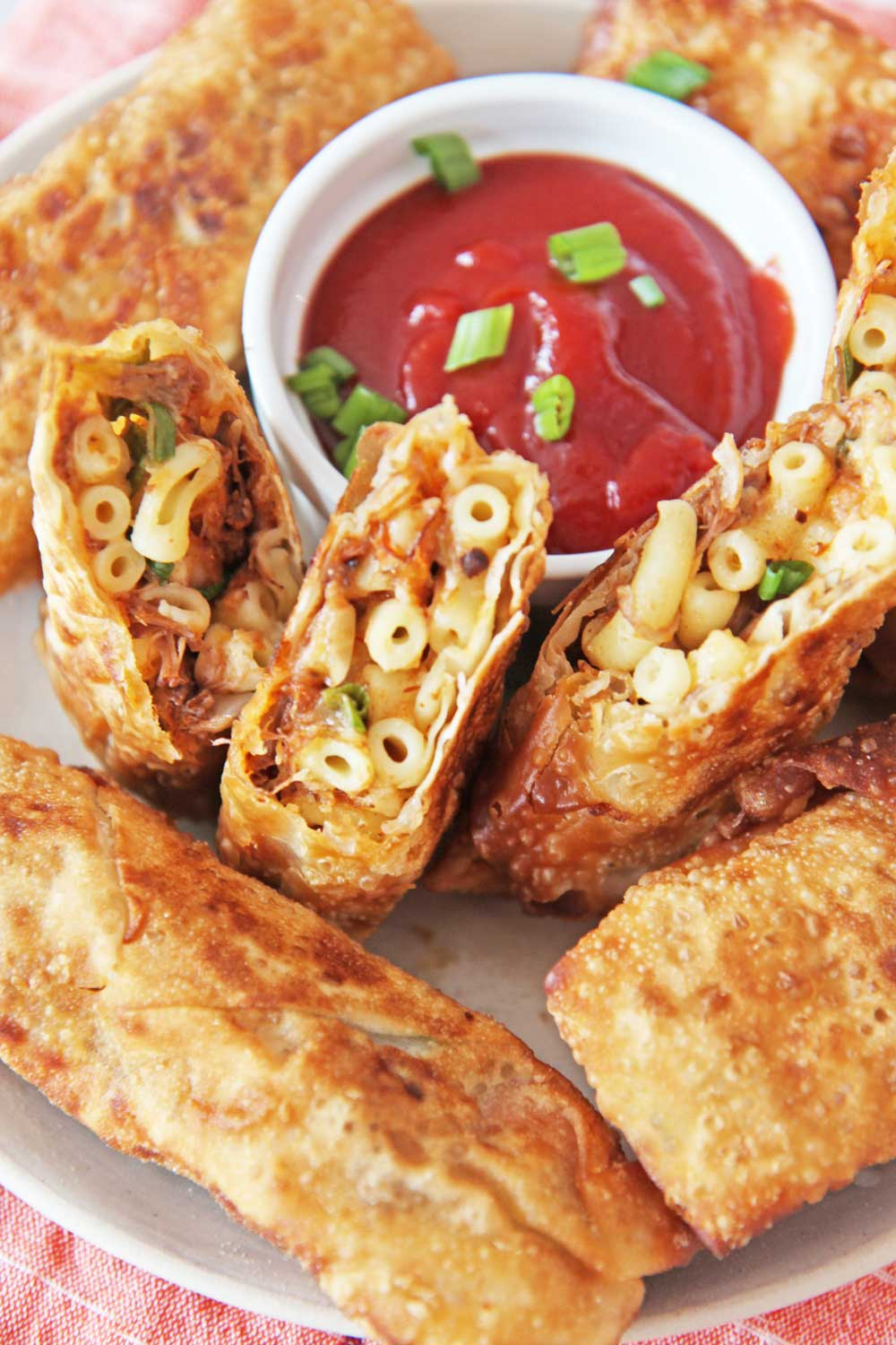 Leftover Mac and Cheese Egg rolls. Leftover Mac and cheese, short ribs, scallions, and lime make this the perfect leftover remake! www.ChopHappy.com #leftovers #eggrolls
