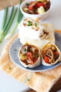 Leftover Breakfast Steak and Hash Brown Burrito