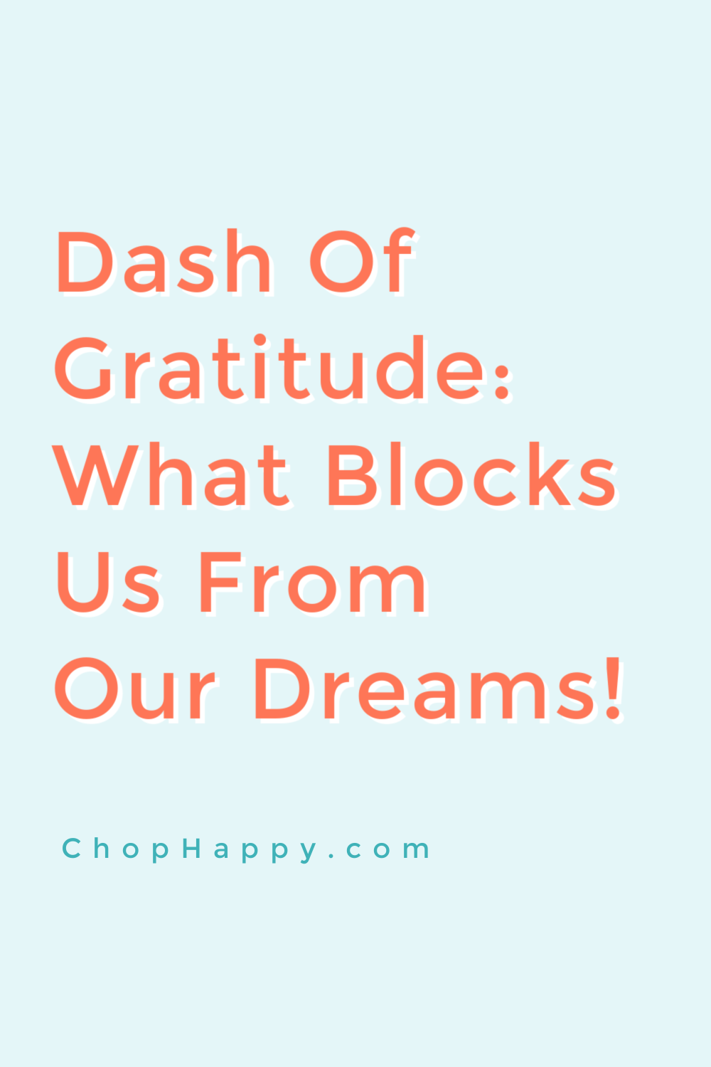 Dash of Gratitude: What Blocks Us From Our Dreams. The law of attraction helps you focus on what you want. www.ChopHappy.com #Gratitude #LawofAttraction