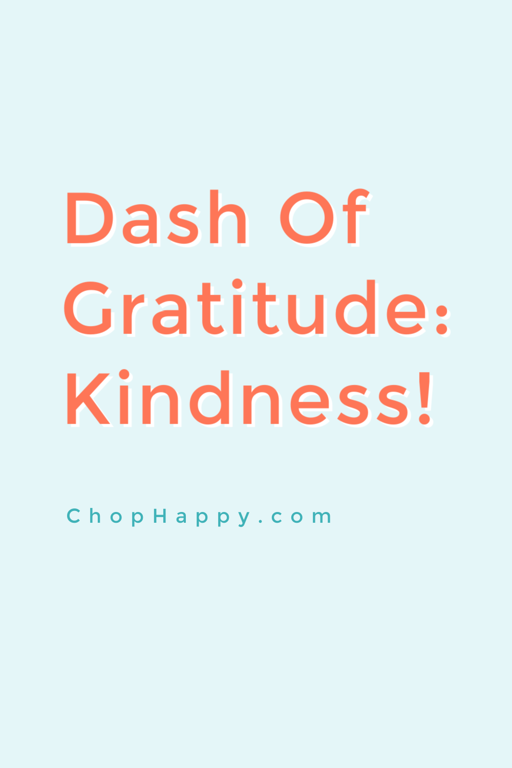 Dash of Gratitude: Kindness. Use the law of attraction nd manifesting to make kindness your norm. Happy Dreaming! www.ChopHappy.com #lawofattraction #gratitude
