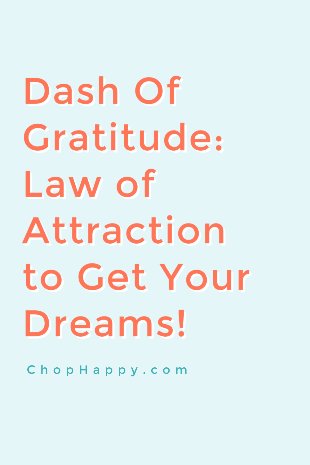 Dash of Gratitude: Law of Attraction. Using the attitude of gratitude to dream big and the power of now will get you dreams come true. Happy Today! www.ChopHappy.com #lawofattraction #grateful