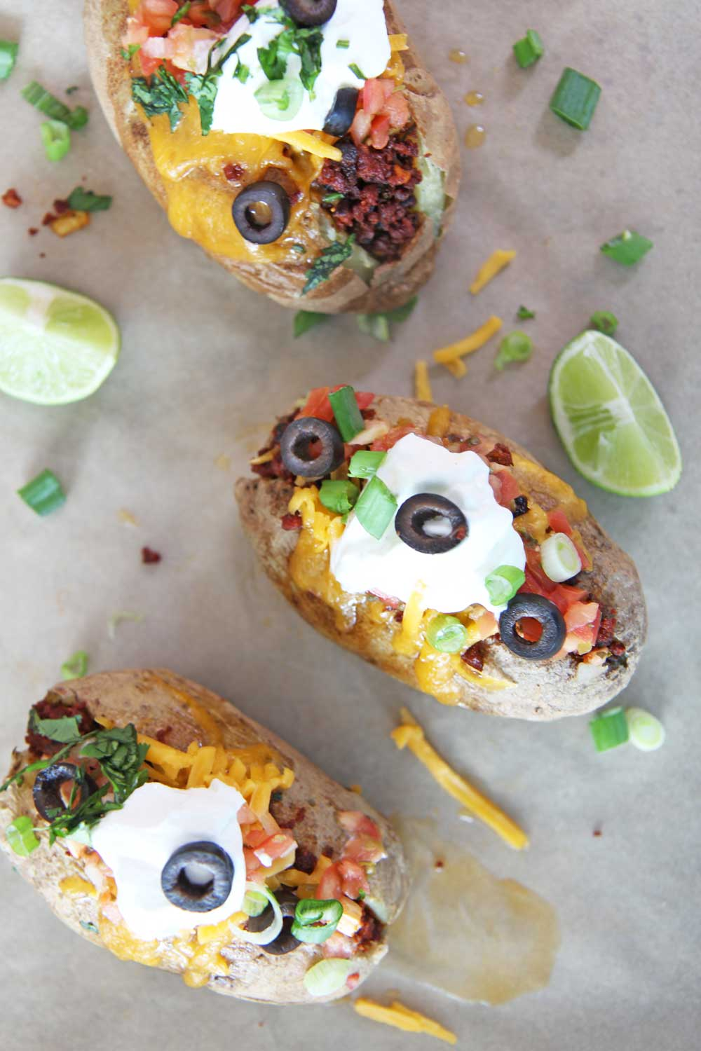 Baked Potato Tacos. Bake the potatoes in the microwave and add cheese, sour cream, chorizo, and salsa. Super easy Taco Tuesday dinner that is also a low carb taco. www.ChopHappy.com #tacoTuesday #tacos