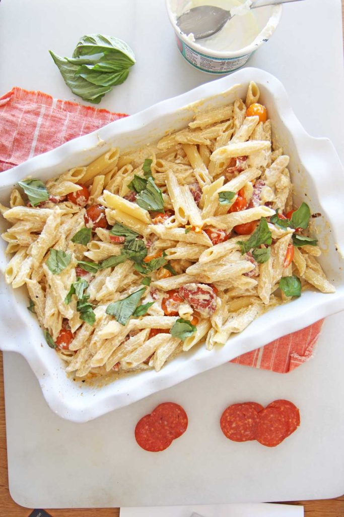 Baked Ricotta Pasta (feta TikTok challenge). Grab ricotta, tomatoes, pepperoni, basil, and pasta. Happy pasta cooking! www.ChopHappy.com #TikTok #pastarecipe
