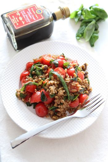Tomato Basil Farro Salad with Balsamic Vinaigrette